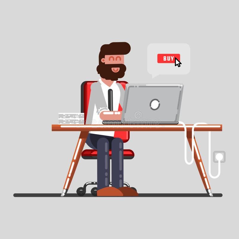 Homme faisant des achats dans tout un ordinateur portable illustration stock