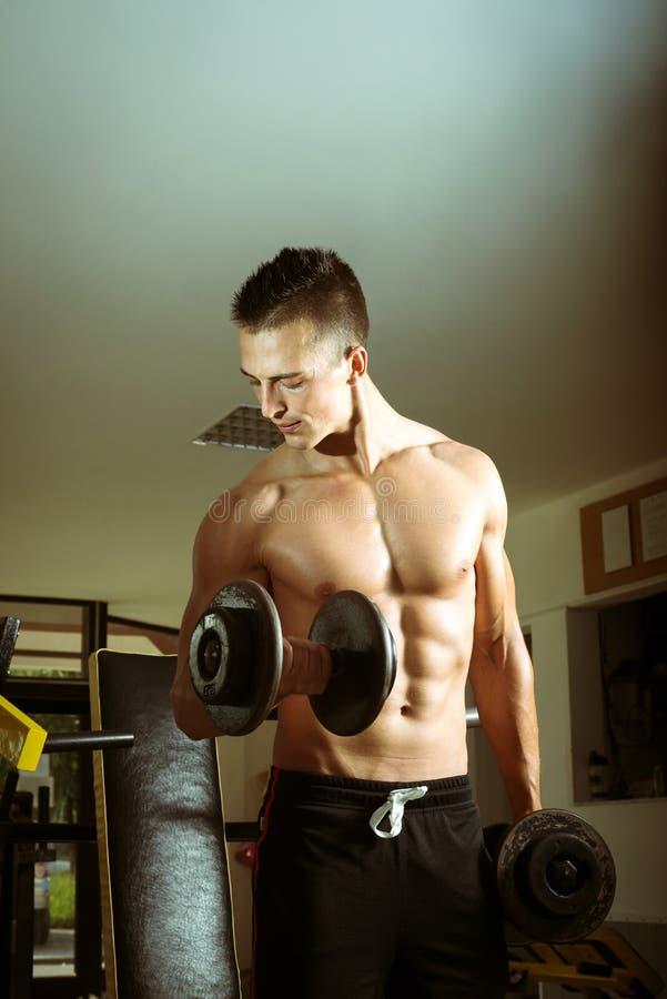 Homme faisant des boucles de biceps image stock