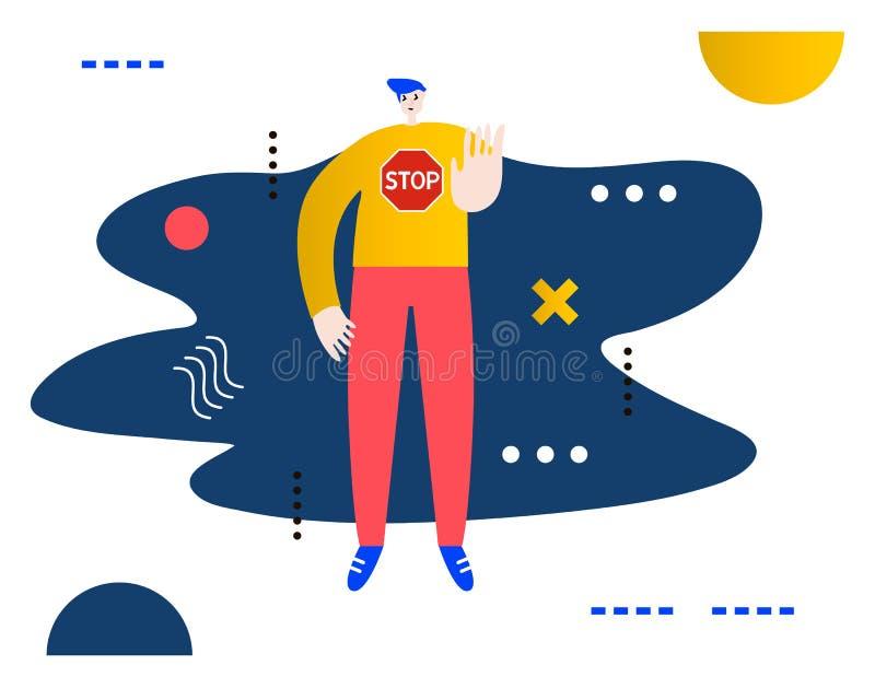 Homme faisant des gestes le signe d'arrêt Illustration créative de vecteur faite en composition abstraite illustration de vecteur