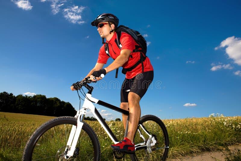 Homme faisant du vélo images stock
