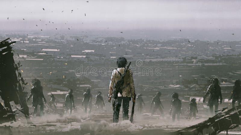 Homme faisant face à une foule des zombis illustration de vecteur
