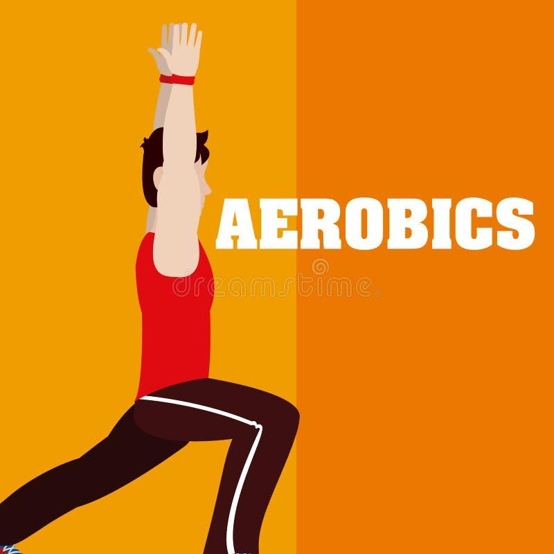 Homme faisant l'aérobic illustration stock