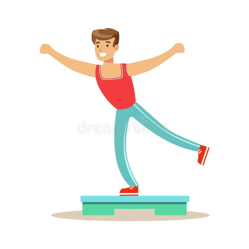 Homme faisant l'aérobic d'étape, membre du centre de fitness établissant et s'exerçant dans les vêtements de sport à la mode illustration libre de droits