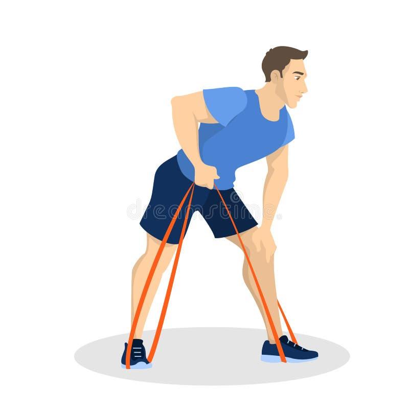 Homme faisant l'exercice avec la corde élastique Activit? de sport illustration stock
