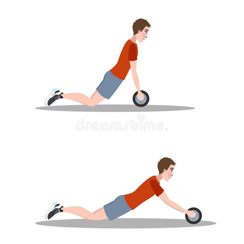 Homme faisant l'exercice dans le gymnase Brûlure de ventre illustration stock