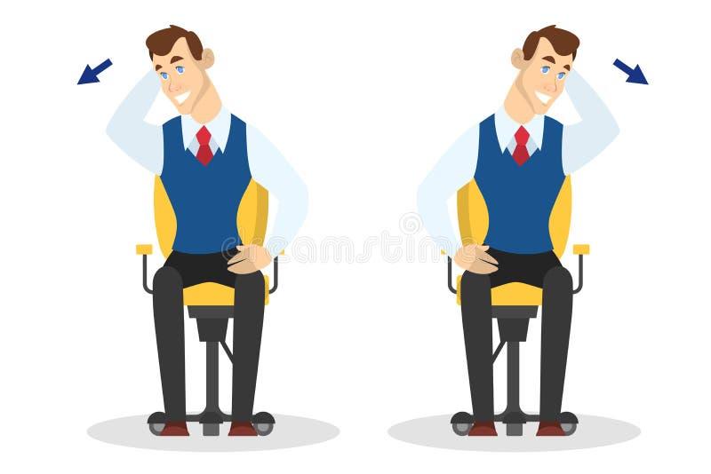 Homme faisant l'exercice pour le bout droit arrière dans le bureau illustration de vecteur