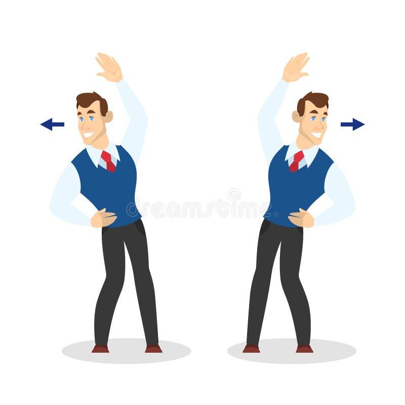Homme faisant l'exercice pour le bout droit arri?re dans le bureau illustration libre de droits