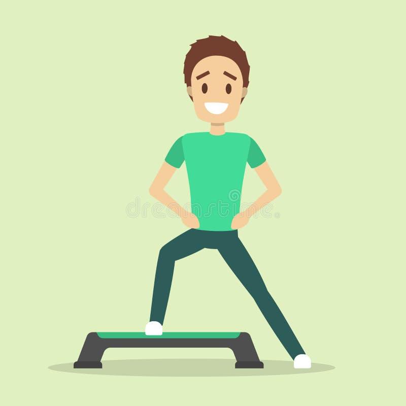 Homme faisant l'exercice sur l'étape Cardio- séance d'entraînement et aérobic illustration de vecteur