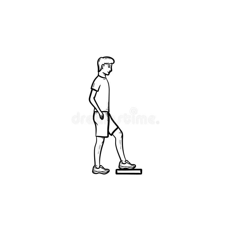Homme faisant l'icône tirée par la main de griffonnage d'ensemble d'aérobic d'étape illustration stock