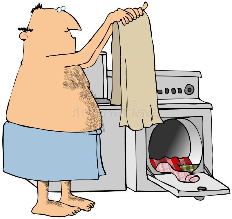 Homme faisant la blanchisserie illustration de vecteur