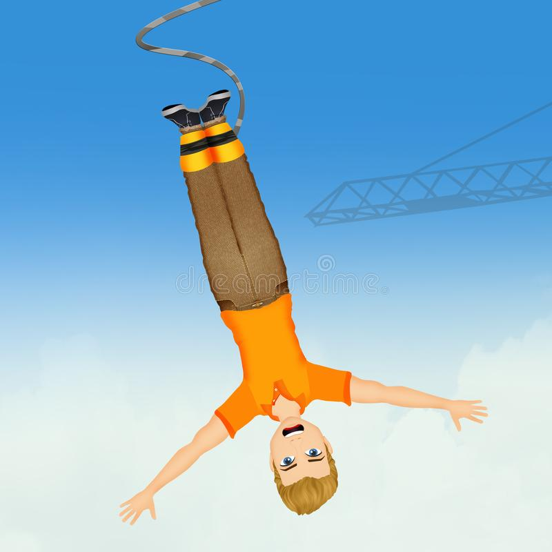 Homme faisant un saut à l'élastique illustration stock