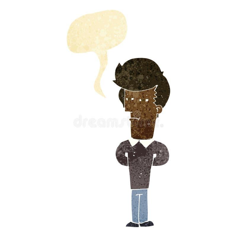 homme fatigué de bande dessinée avec la bulle de la parole illustration de vecteur