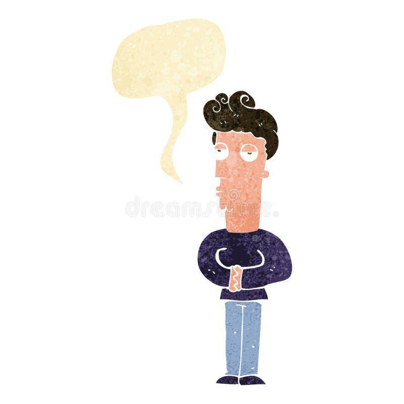homme fatigué de bande dessinée avec la bulle de la parole illustration stock