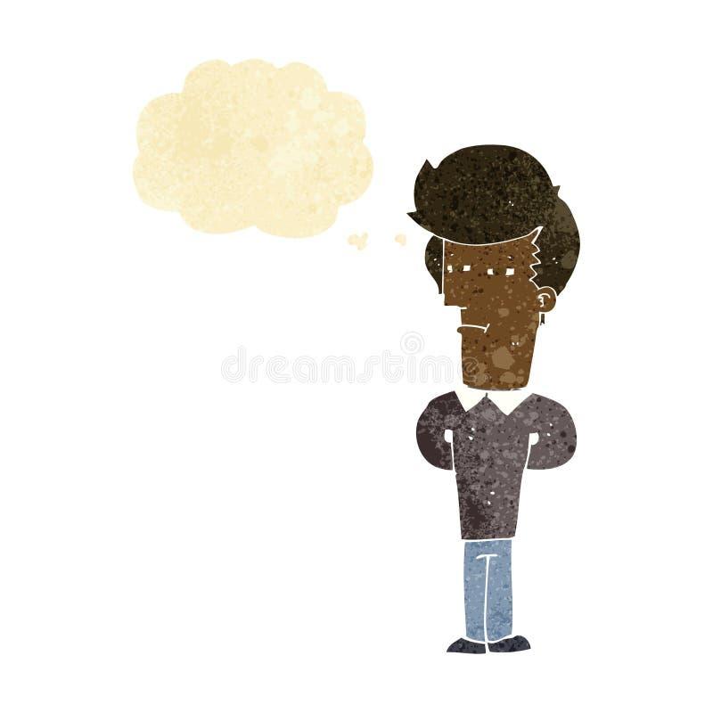 homme fatigué de bande dessinée avec la bulle de pensée illustration de vecteur