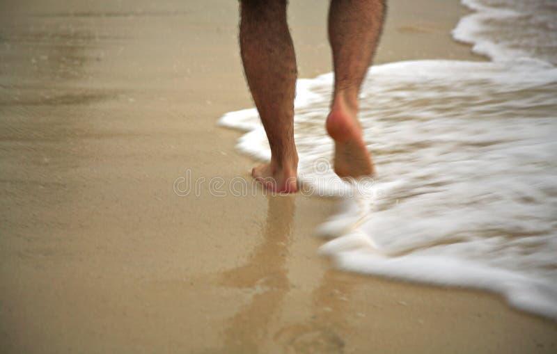 Homme flânant par la vague déferlante image stock