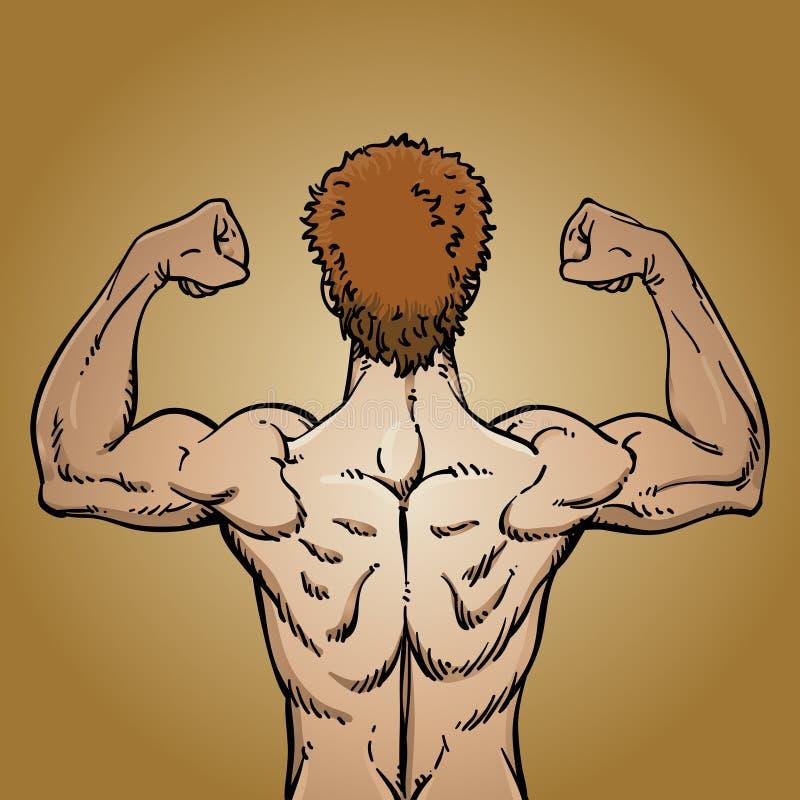 Homme fléchissant les muscles du dos illustration libre de droits