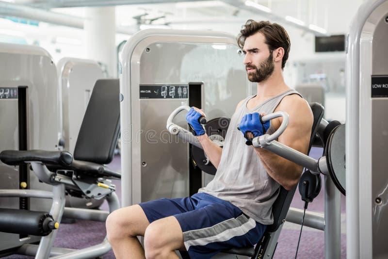 Homme focalisé à l'aide de la machine de poids pour des bras images stock