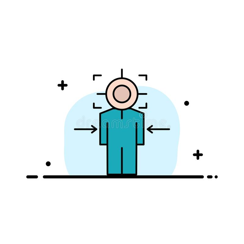 Homme, Focus, Cible, Atteint, Objectif Business Flat Line - Modèle de bannière vectorielle d'icônes remplies illustration de vecteur