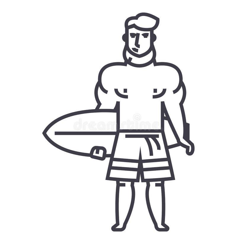 Homme fort avec la ligne icône, signe, illustration de vecteur de conseil surfant sur le fond, courses editable illustration libre de droits