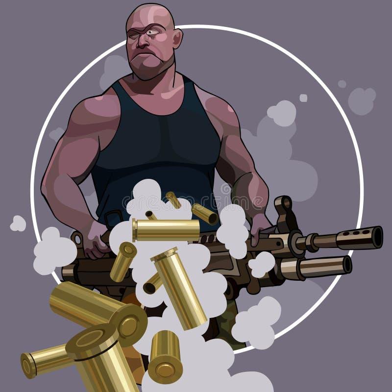 Homme fort de bande dessinée avec de grandes armes automatiques illustration de vecteur