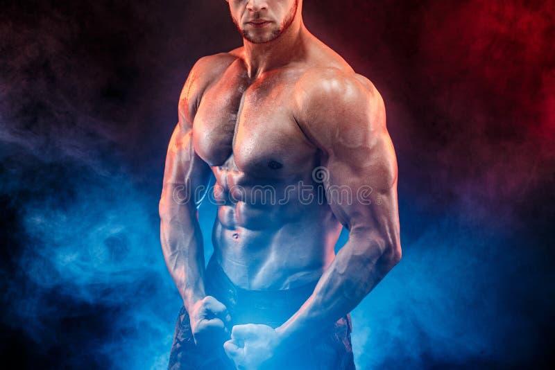Homme fort de bodybuilder dans le pantalon militaire avec des ABS parfaits, épaules, biceps, triceps, coffre image libre de droits