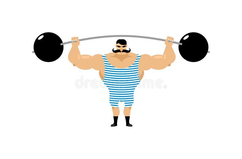 Homme fort de vintage Athlète antique Rétro barbell de bodybuilder S illustration de vecteur