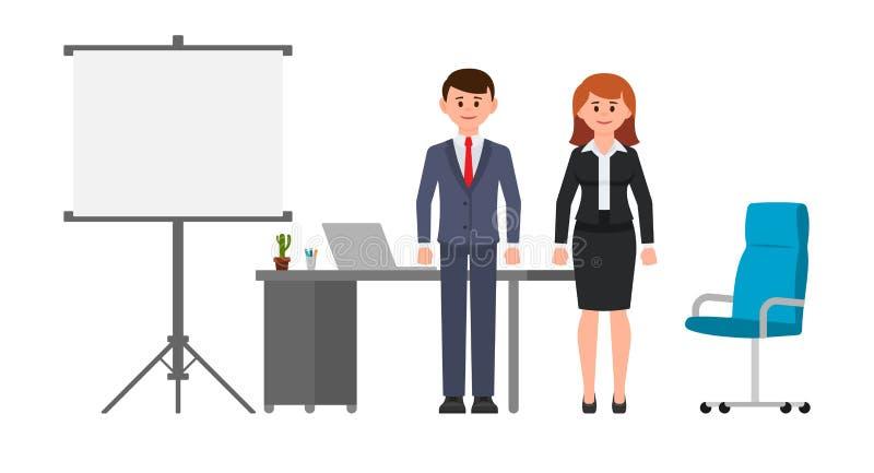 Homme futé et femme d'affaires tenant le bureau, le tableau de conférence et la chaise proches Illustration de vecteur des person illustration stock