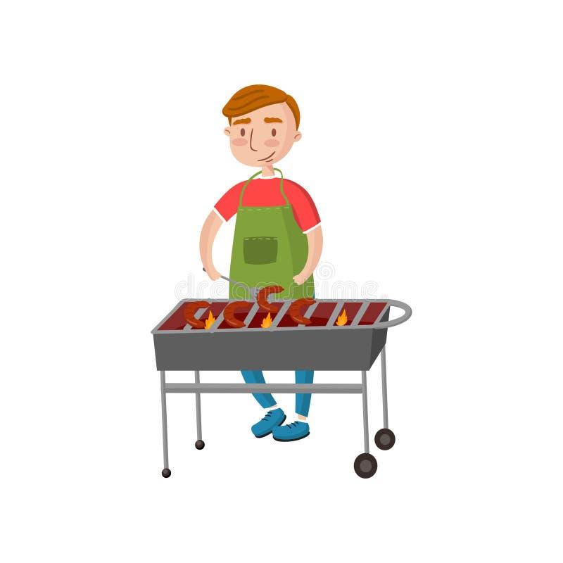 Homme gai faisant cuire des saucisses sur l'illustration de vecteur de bande dessinée de gril de barbecue illustration stock