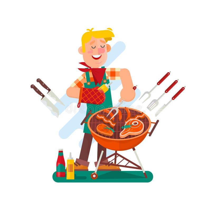 Homme gai faisant cuire le bifteck sur le gril de barbecue extérieur Disposition carrée Illustration plate de conception de vecte illustration de vecteur