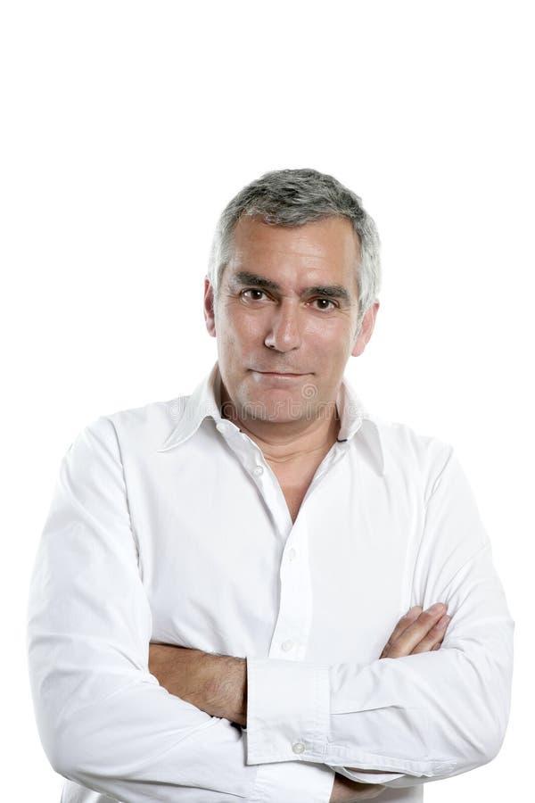 Homme gris aîné d'expertise de cheveu d'homme d'affaires images libres de droits