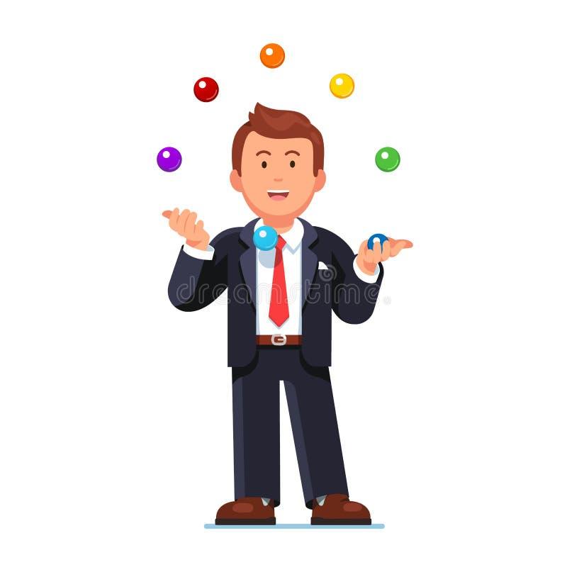 Homme habile d'affaires jonglant les boules colorées illustration stock