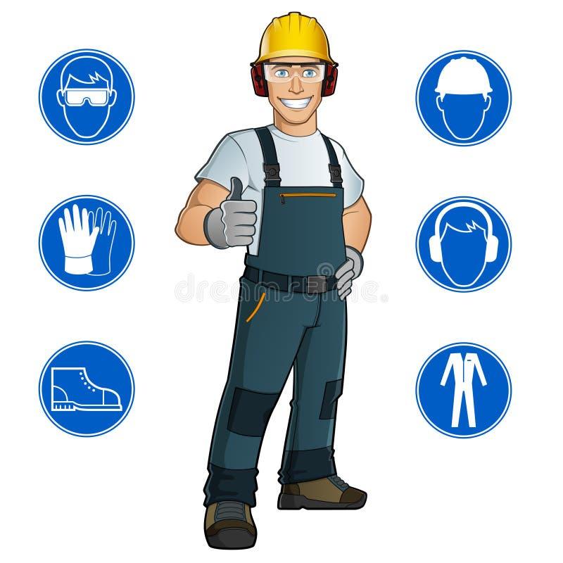 Homme habillé dans des vêtements de travail illustration stock