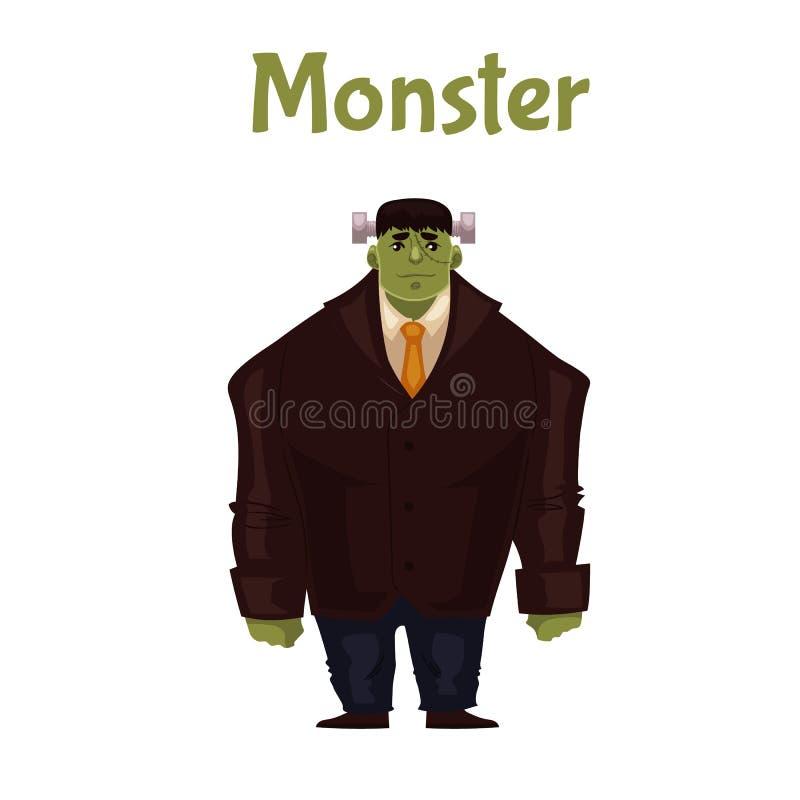 Homme habillé dans le costume de monstre pour Halloween illustration stock