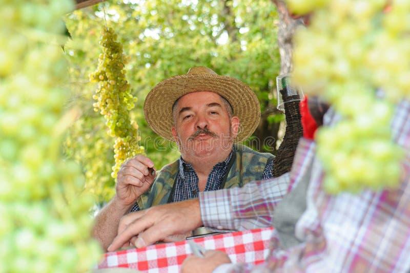 Homme habillé vers le haut de comme l'agriculteur image libre de droits
