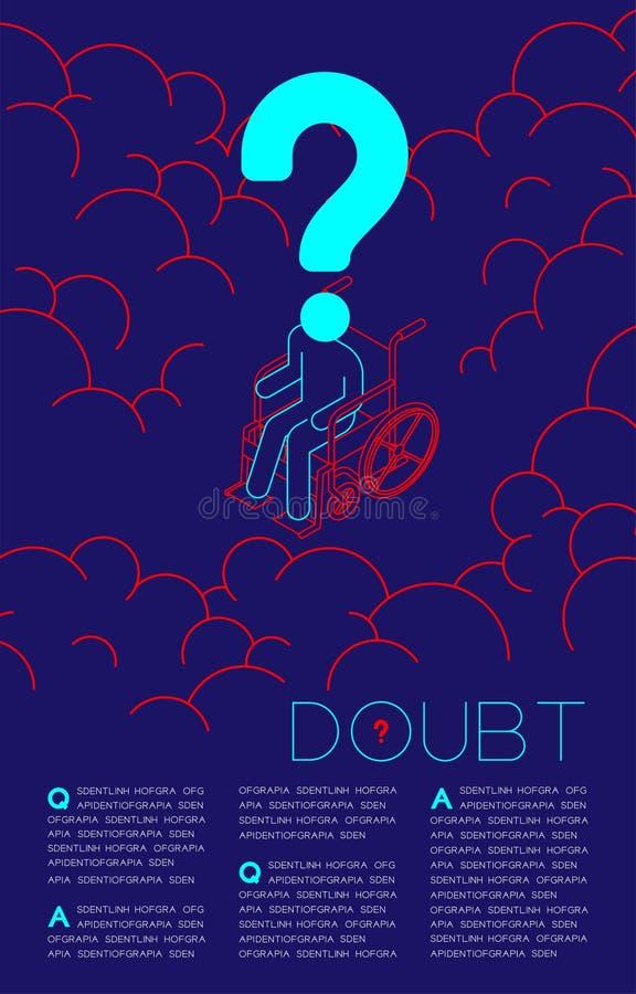 Homme handicap? de doute isom?trique avec les questions sociales bleues et rouges de pictogramme d'ic?ne de point d'interrogation illustration libre de droits
