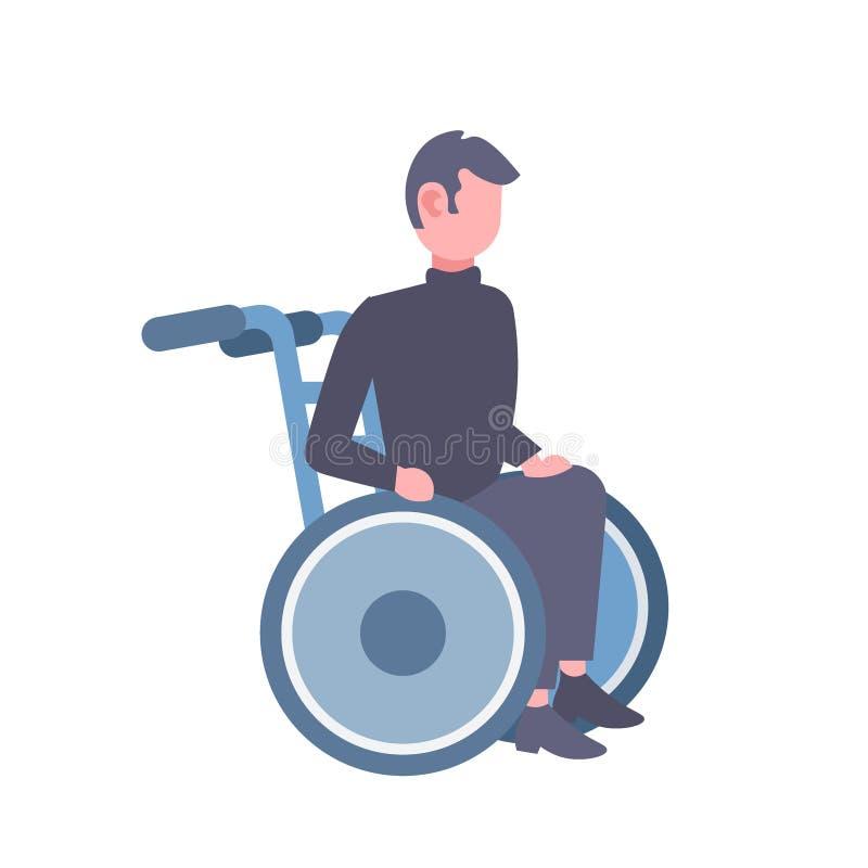 Homme handicapé s'asseyant dans intégral masculin de personnage de dessin animé de concept d'incapacité de fauteuil roulant à pla illustration de vecteur