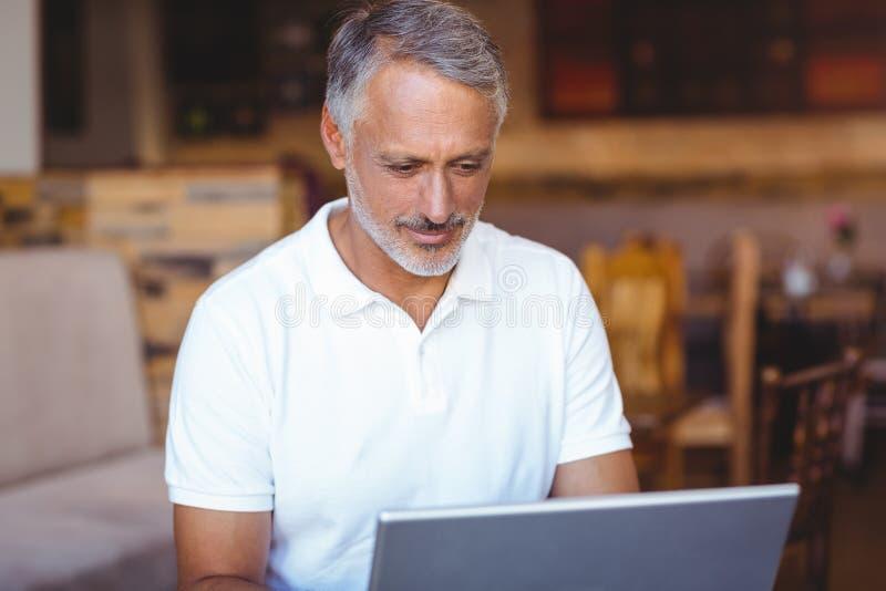 Download Homme Heureux à L'aide De Son Ordinateur Portable Image stock - Image du conversation, profession: 56486299
