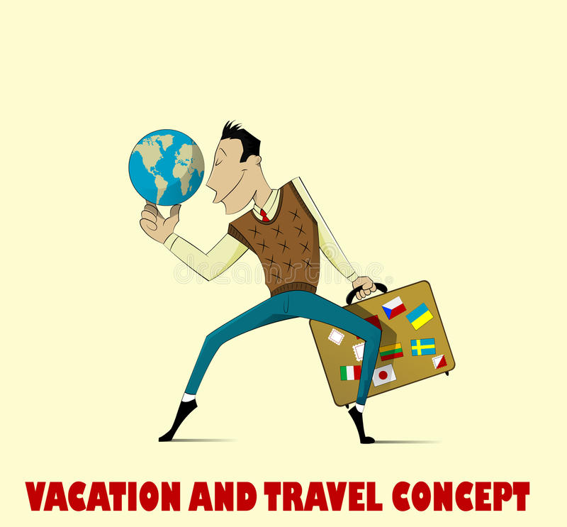 Homme heureux allant vacation illustration libre de droits