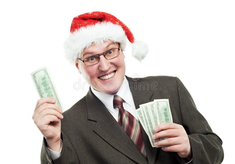 Homme heureux d'affaires dans le chapeau rouge avec de l'argent du dollar photos libres de droits