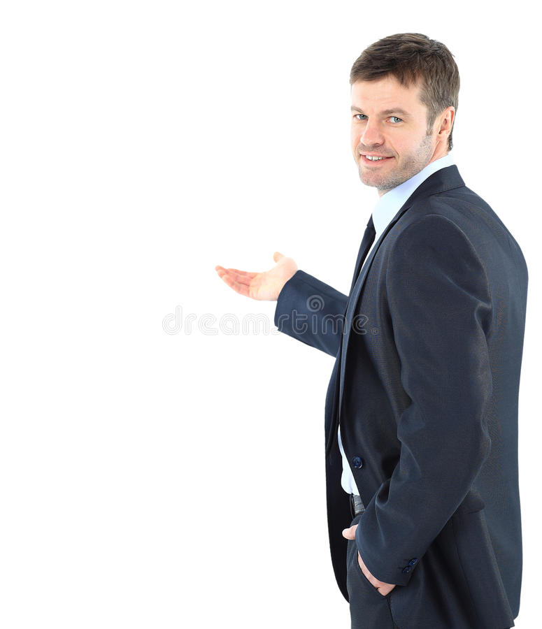 Homme heureux d'affaires présent et montrant avec l'espace de copie pour le yo image stock