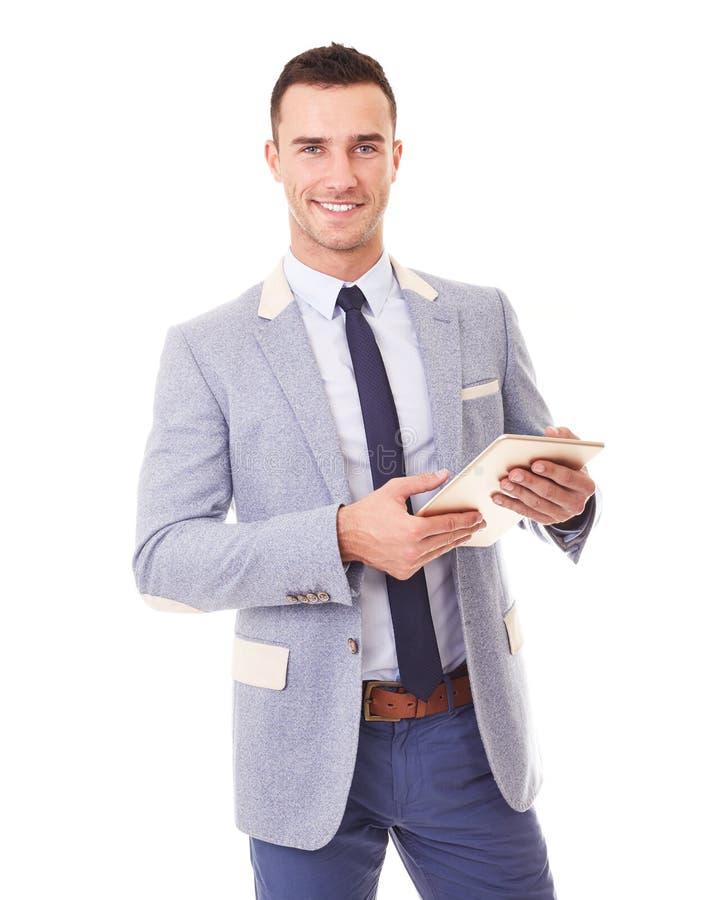 Homme heureux d'affaires utilisant le PC de comprimé images stock