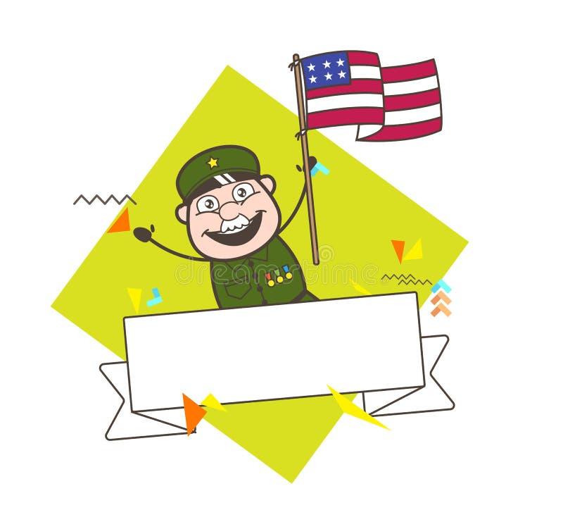 Homme heureux d'armée avec l'illustration de vecteur de drapeau des USA illustration de vecteur