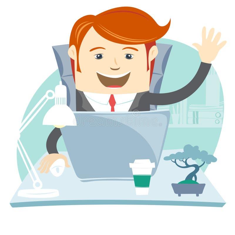 Homme heureux de bureau s'asseyant à son bureau fonctionnant illustration de vecteur