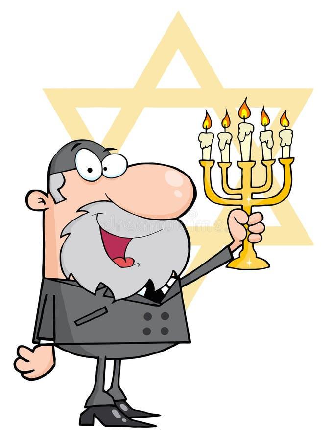 Homme heureux de rabbin retardant un menorah illustration de vecteur