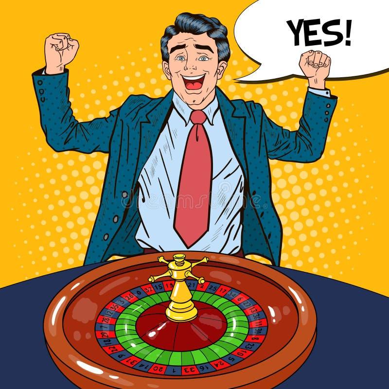 Homme heureux derrière le Tableau de roulette célébrant la grande victoire Casino jouant Art de bruit illustration de vecteur
