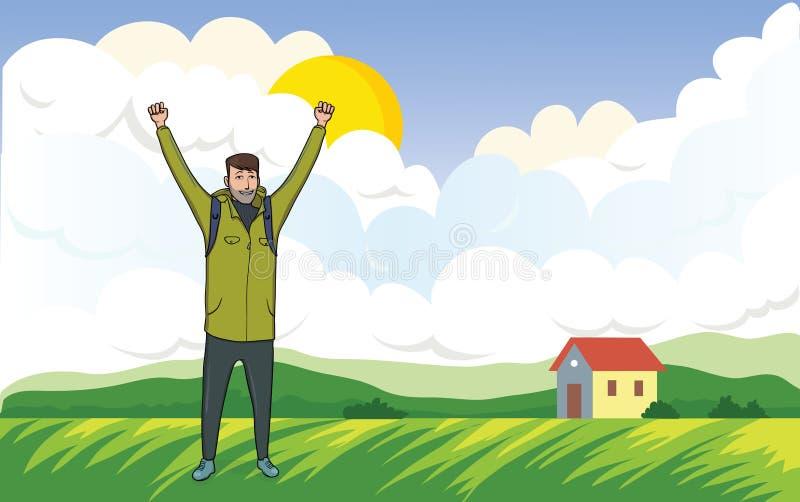 Homme heureux sur la promenade de matin dans le paysage agricole Un touriste avec leurs mains, un geste de succès à illustration stock