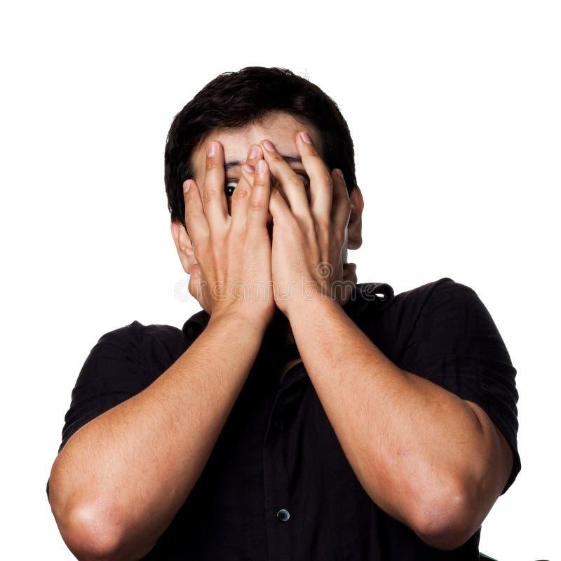 Homme hispanique effrayé photographie stock libre de droits