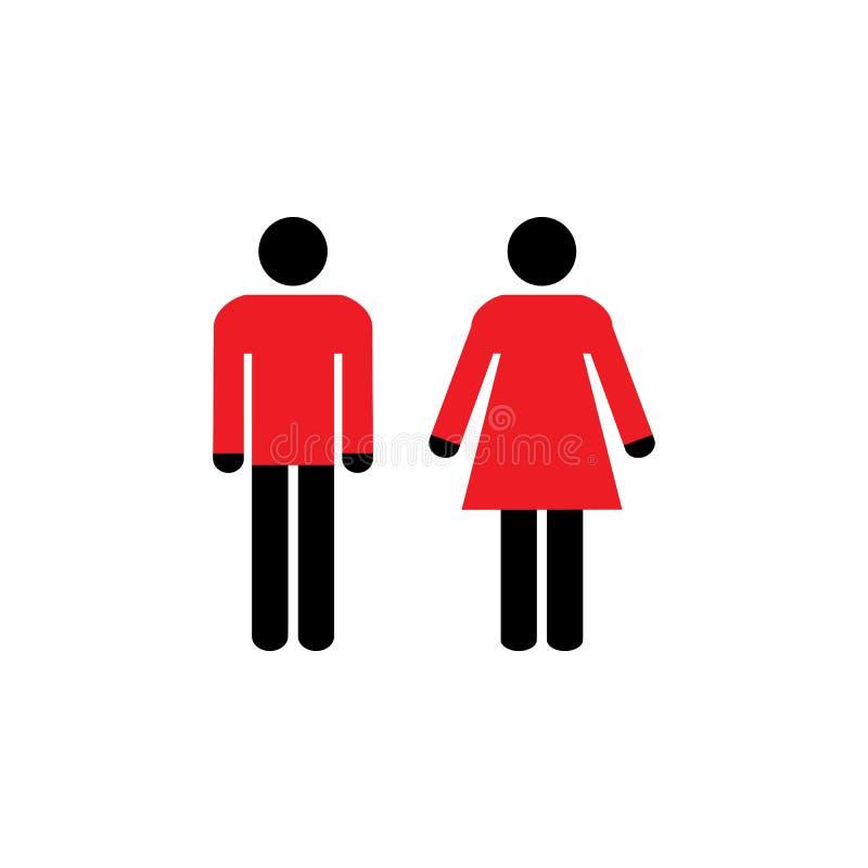 Homme, icône de femme, signe de toilette, signe de toilettes Noir, rouge sur le fond blanc Conception plate Illustration de vecte illustration libre de droits