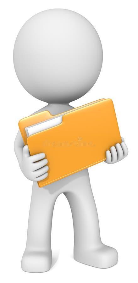 Homme illustré avec le dossier jaune images libres de droits