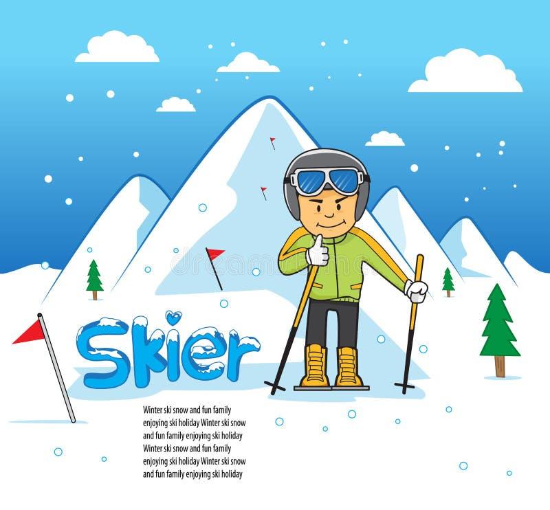 Homme incliné de sport de vitesse de skieur image libre de droits